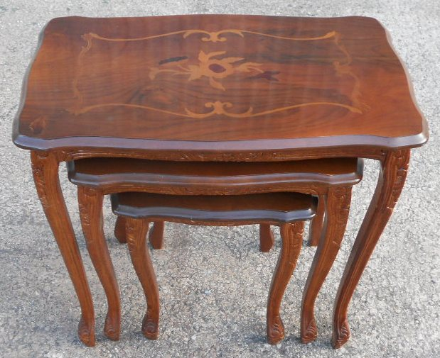 Victorian Style Inlaid Walnut Nest Of Three Coffee Tables Sold