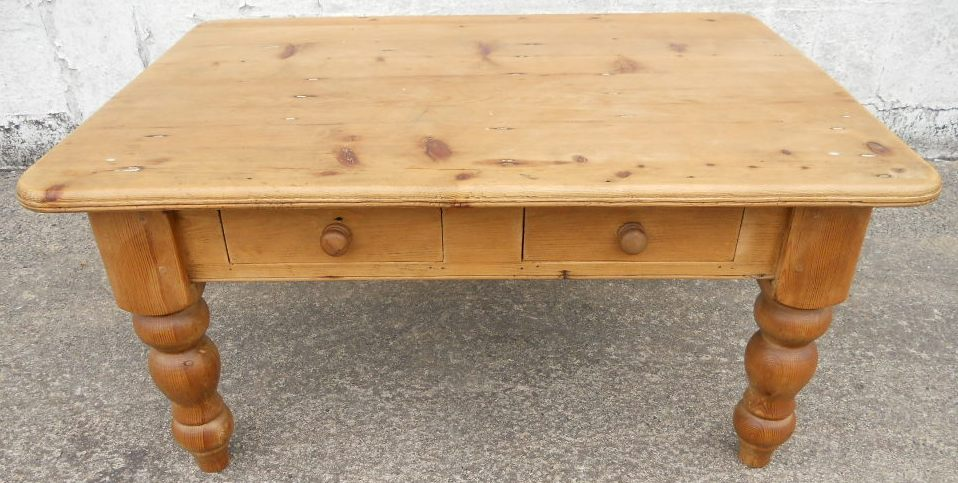 Victorian Style Large Pine Rustic Style Coffee Table Sold