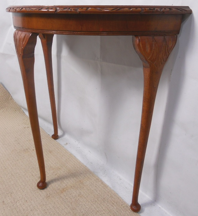 Yew wood console table with bowfront for Yew sofa table