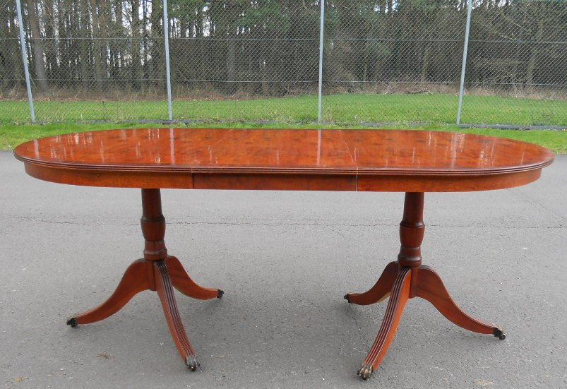 Yew wood extending twin pillar dining table to seat six sold for Pillar dining table