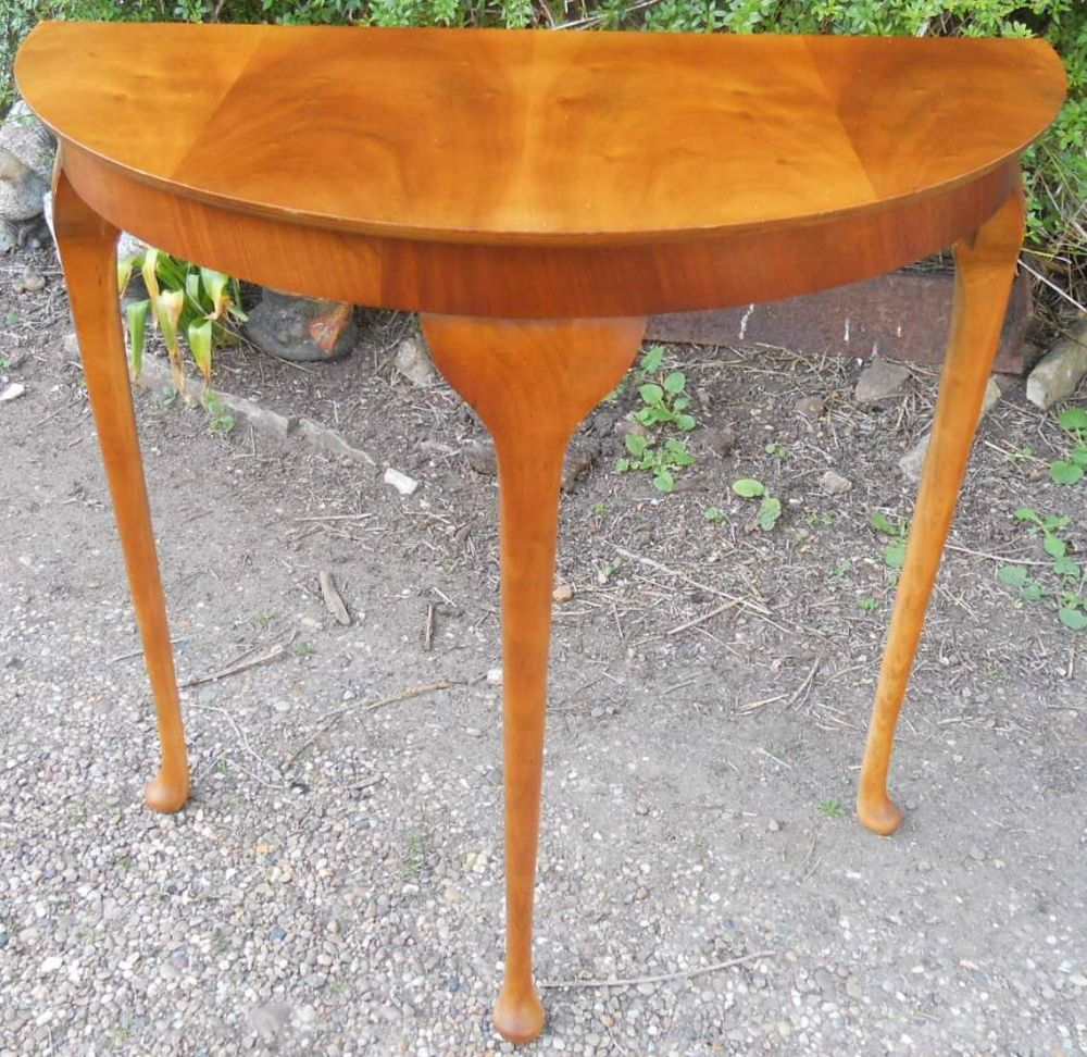Yew wood half round console table for Yew sofa table