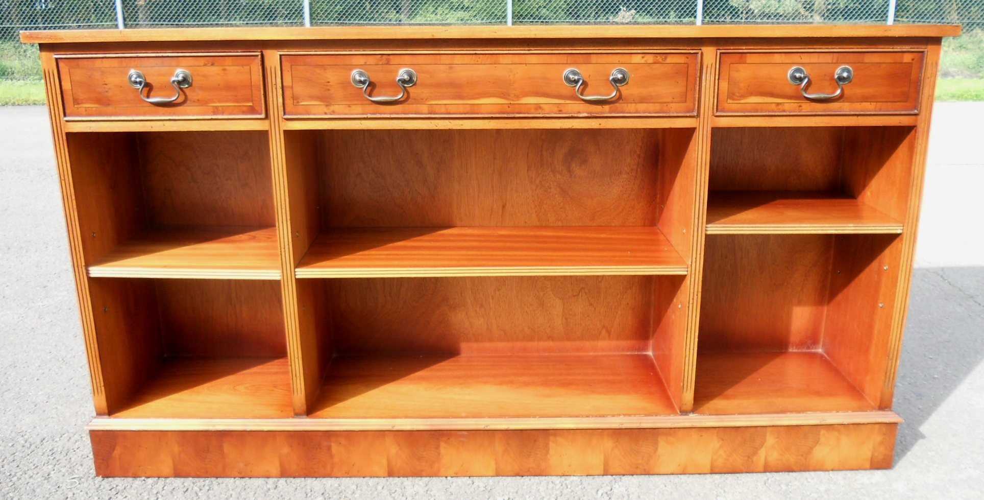 Yew Wood Narrow Long Open Bookcase