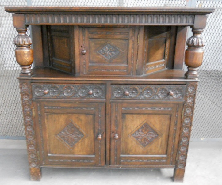 Antique Jacobean Style Heavily Carved Oak Court Cupboard