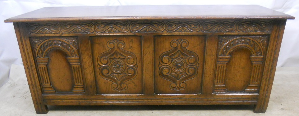 Antique Jacobean Style Large Carved Oak Blanket Chest