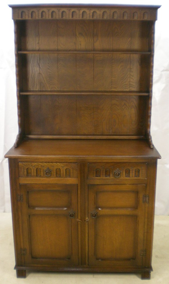 Antique Style Oak Dresser with Plate Rack