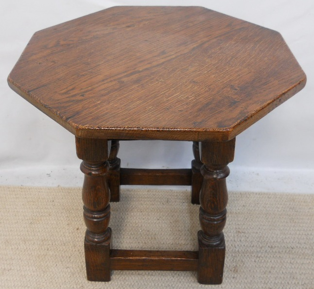 Antique Style Oak Octagonal Top Coffee Table
