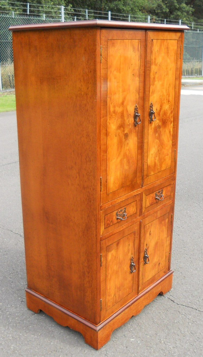 antique style yew tall narrow cupboard cabinet lp storage. Black Bedroom Furniture Sets. Home Design Ideas