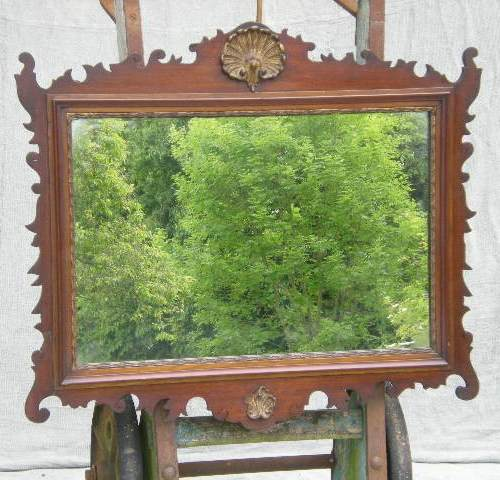 Chippendale Style Mahogany Frame Hanging Wall Mirror