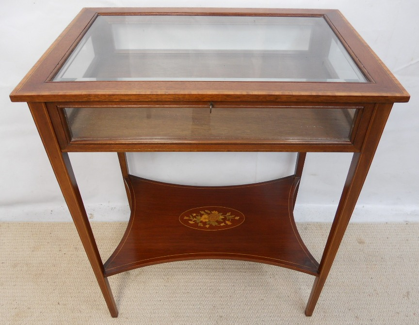 Edwardian Style Inlaid Mahogany Display Table Cabinet Sold