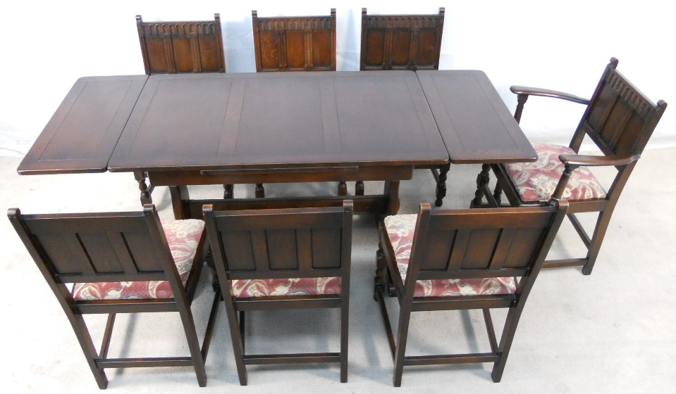 Ercol Dark Elm Extending Dining Table Chairs 1679 P
