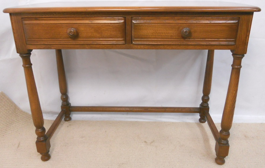 Ercol Elm Two Drawer Writing Table Golden Dawn Range Sold