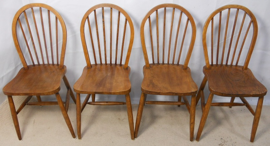 Ercol Set Of Four Windsor Elm Kichen Dining Chairs Sold