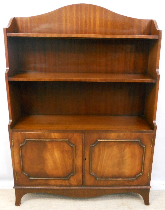 Georgian Style Mahogany Open Standing Bookcase by Reprodux