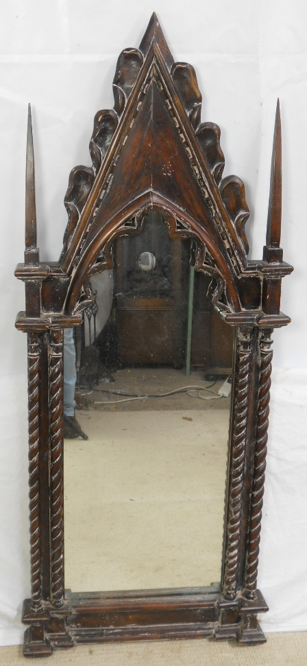 Gothic Style Decorated Hard Wood Hanging Wall Mirror