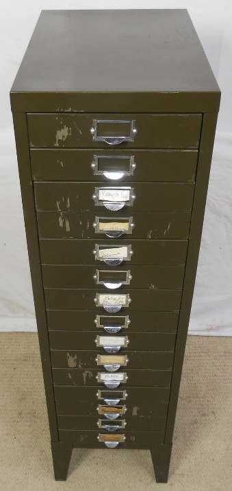 Industrial Metal Tall Multi-drawer Narrow Chest