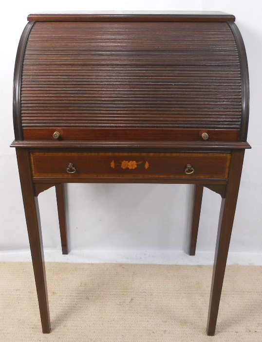 Ladies Edwardian Inlaid Mahogany Tambour Rollfront Small Writing
