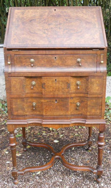 Ladies Small Walnut Writing Bureau On Stand Sold