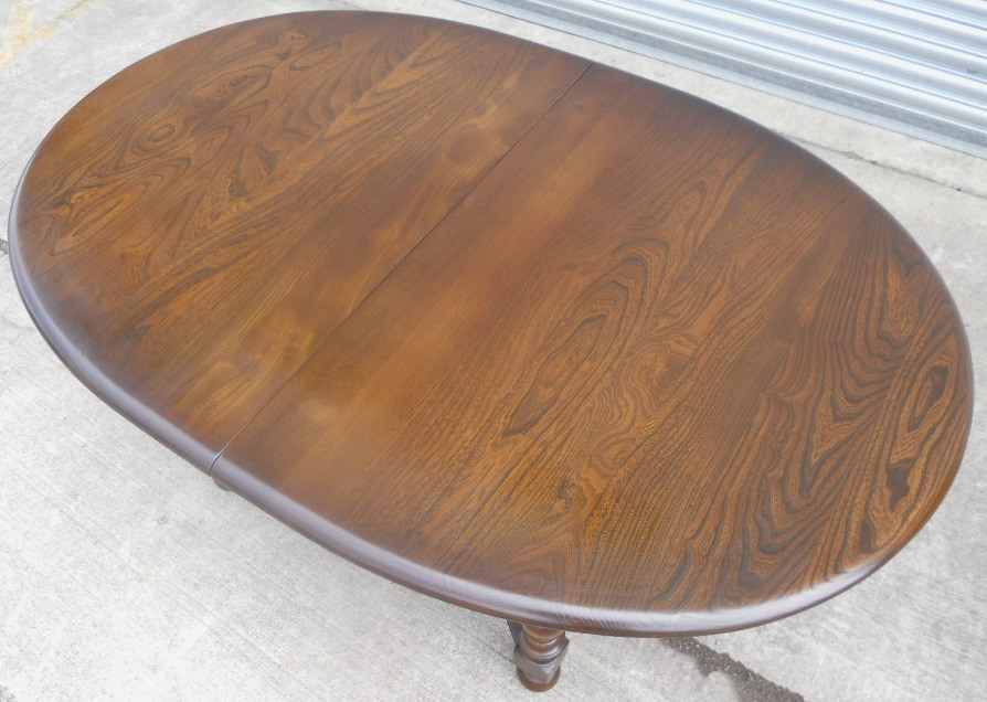 Large Oval Dark Elm Extending Dining Table to Seat Eight