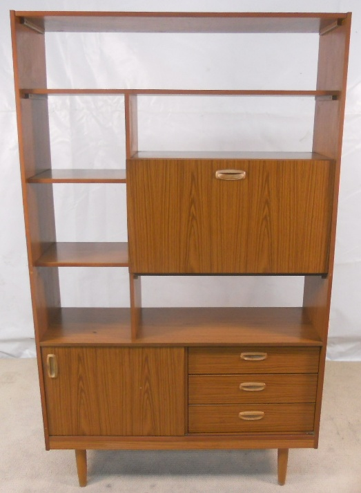 Light Teak 1970 s Room Divider Bookshelves Workstation SOLD