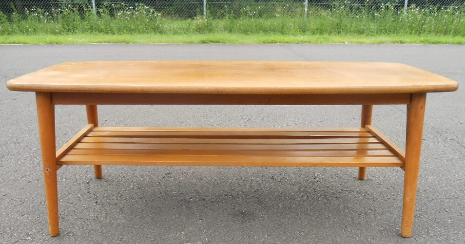 Long LIght Teak Retro Coffee Table