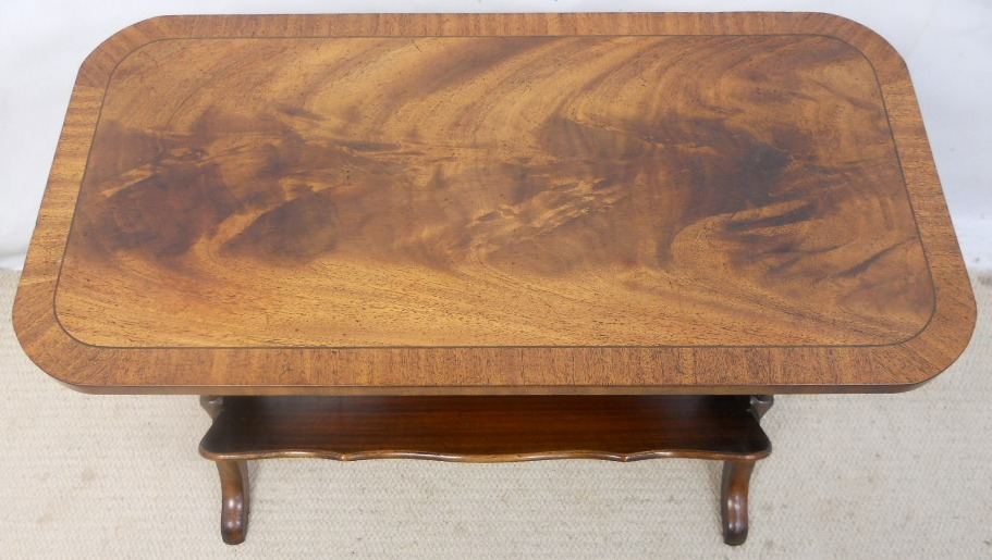 Long Mahogany Coffee Table & Book Rack by Reprodux