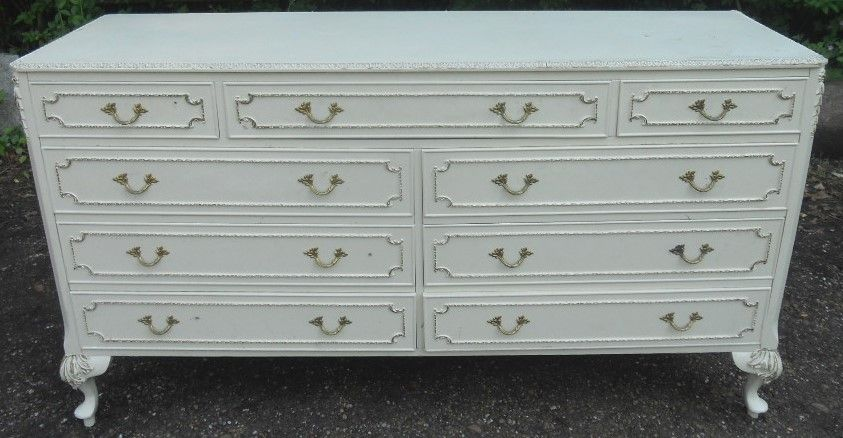 Louis Style Long Painted Chest of Drawers