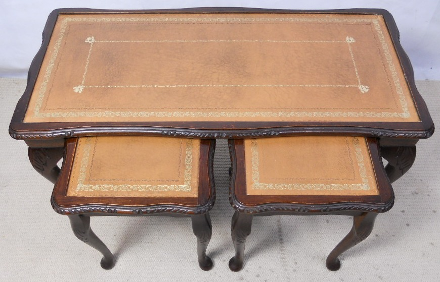 Nest Of Three Mahogany Coffee Tables With Beige Leather