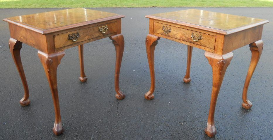 Pair antique style walnut lamp tables aloadofball Images