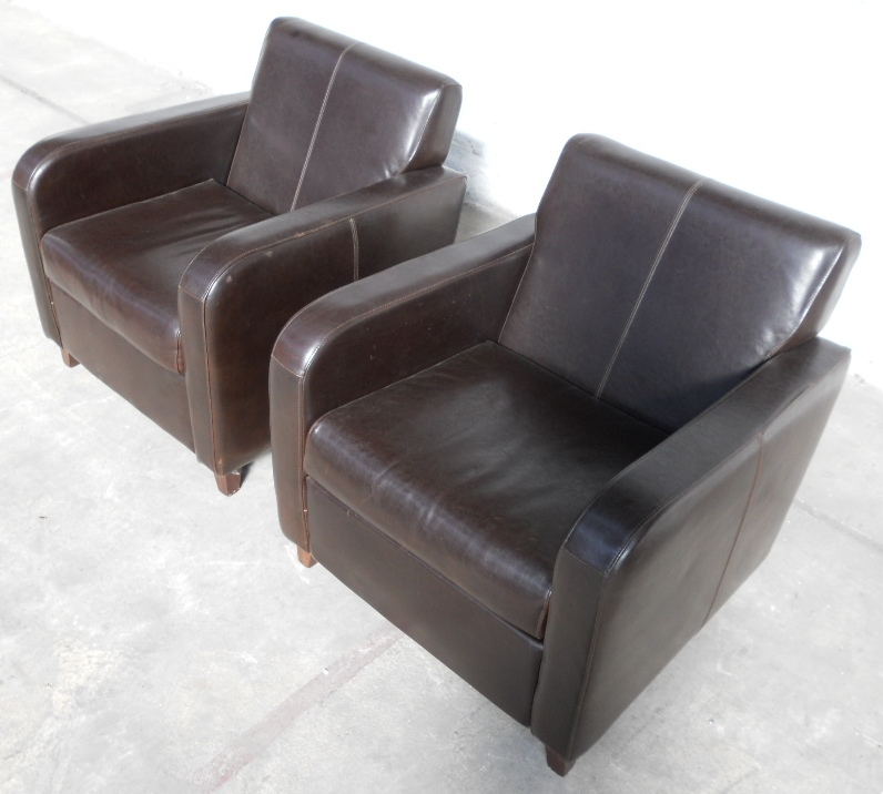 Pair Art Deco Style Leather Library Armchairs