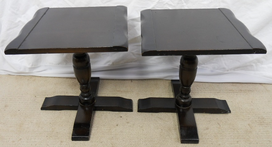 Pair Dark Elm Pedestal Lamp Stands