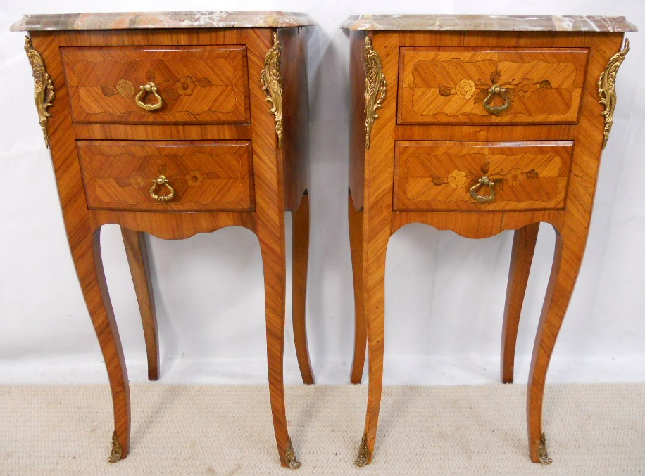 Pair french marble top inlaid bedside cabinets sold watchthetrailerfo