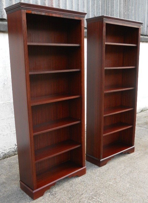 Pair Georgian Style Tall Mahogany Open Bookcase Cabinets Sold