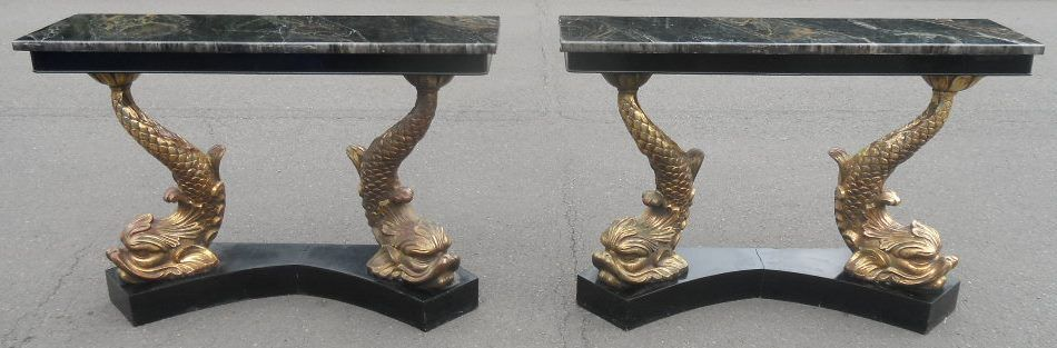 Pair Gilt Dolphin Base Console Tables