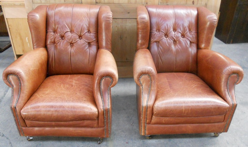 Pair Leather Antique Victorian Style Wing Fireside Easy