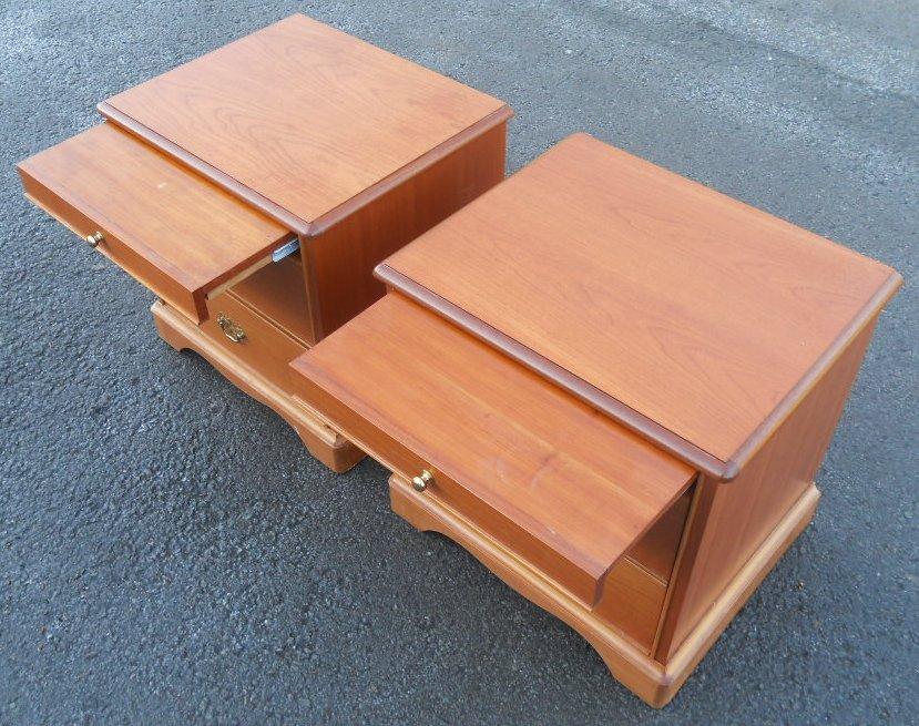 Pair Light Teak Bedside Chests by Stag