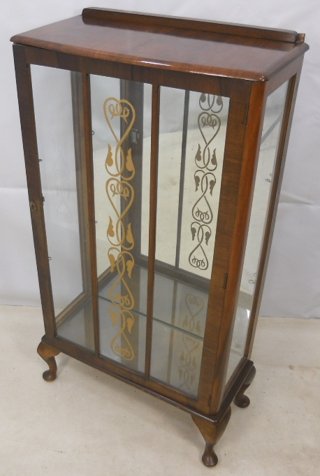 - Queen Anne Style Single Door Walnut China Cabinet - SOLD