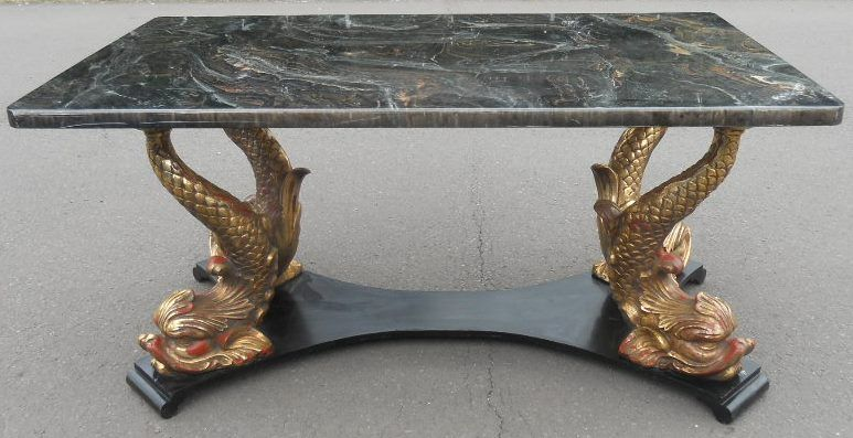 Regency Style Gilt Dolphin Base Centre Table