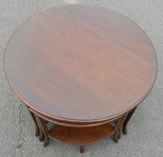 Round Mahogany Nest of Coffee Tables