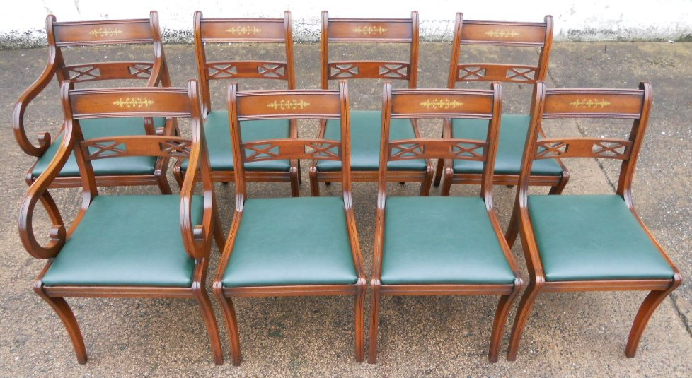 - Set Of Eight Antique Regency Style Brass Inlaid Mahogany Dining Chairs