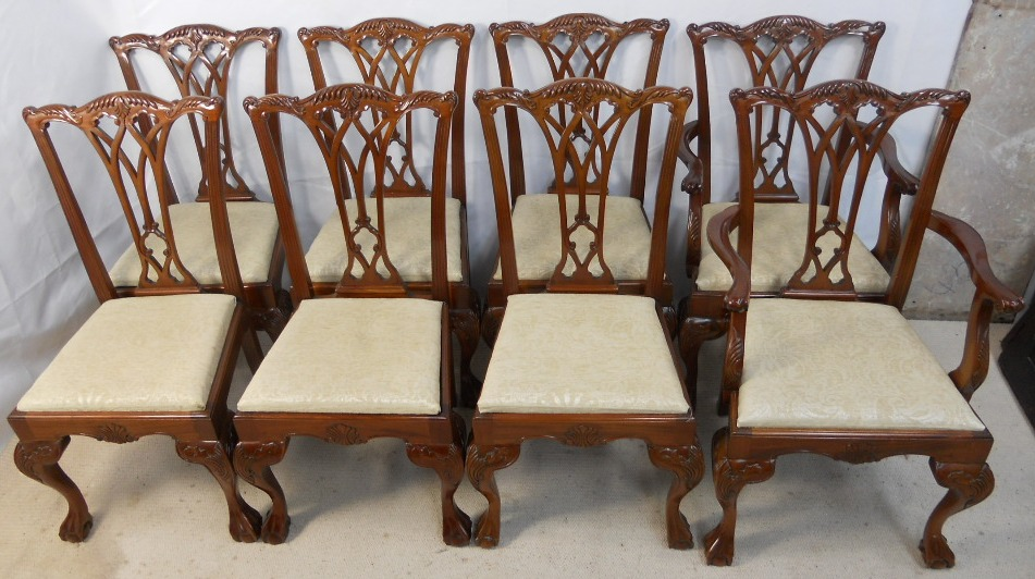 Set of Eight Chippendale Style Light Mahogany Dining Chairs