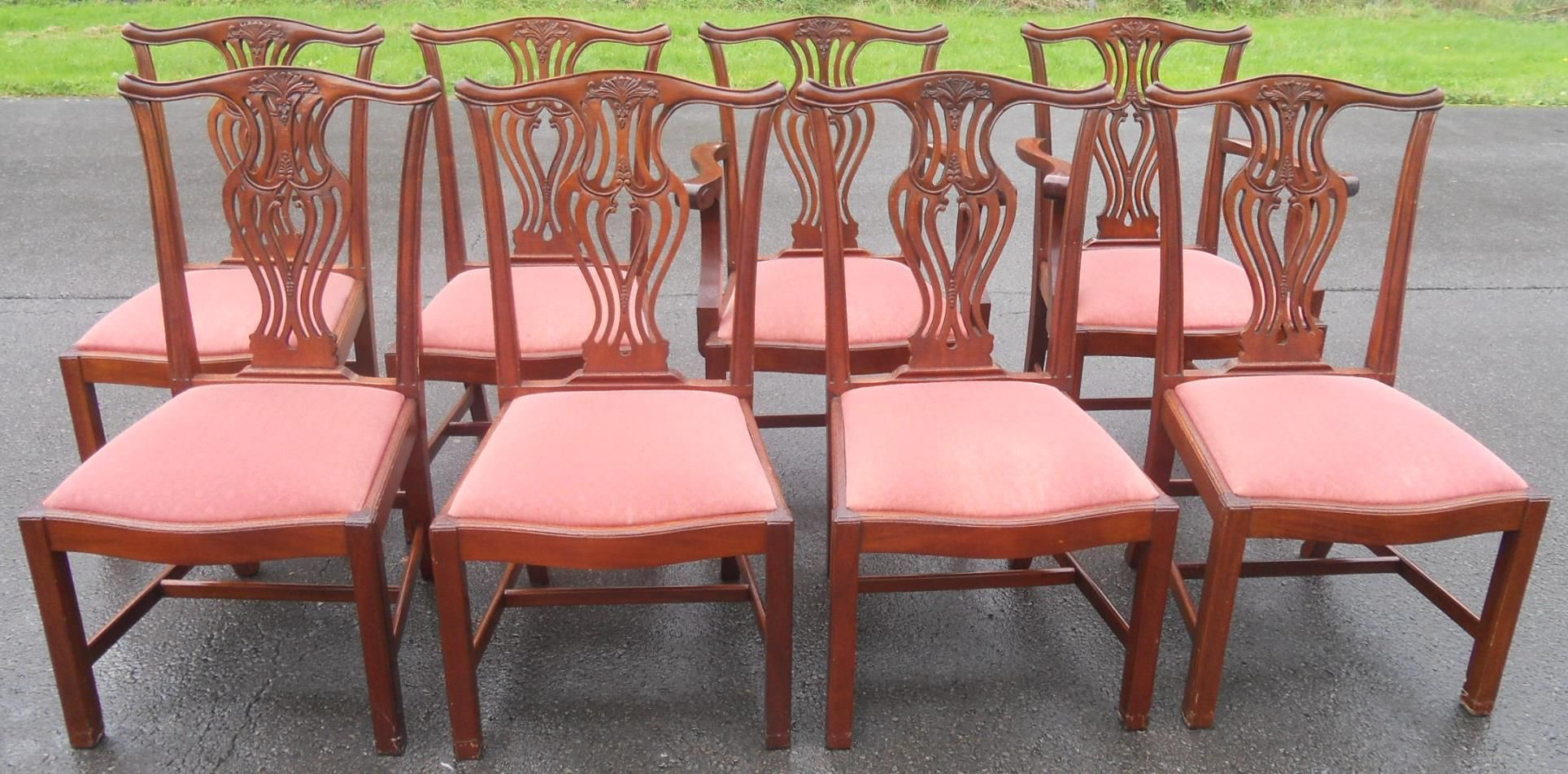 98c923a21050f Set of Eight Mahogany Chippendale Style (Six +Two) Dining Chairs