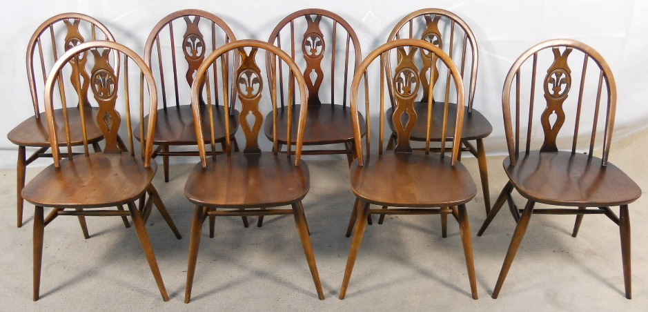 set of eight windsor style kitchen dining chairs by ercol sold