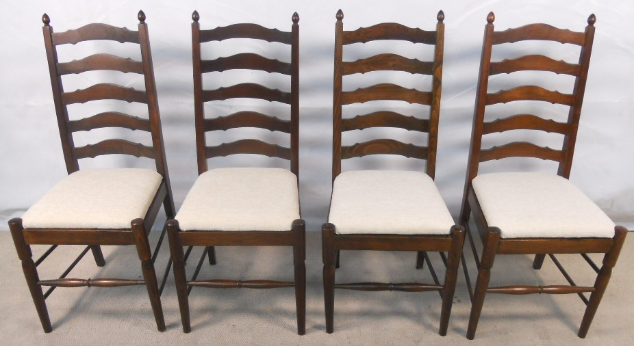 Set of Four Dark Elm Ladderback Dining Chairs