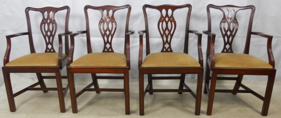 Set of Four Georgian Style Mahogany Carver Armchairs