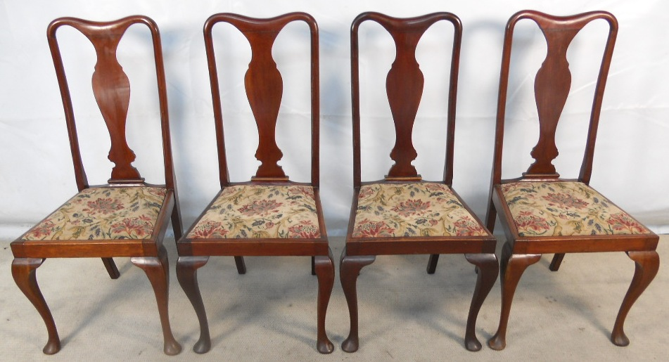Set Of Four Queen Anne Style Mahogany, Queen Anne Mahogany Dining Chairs