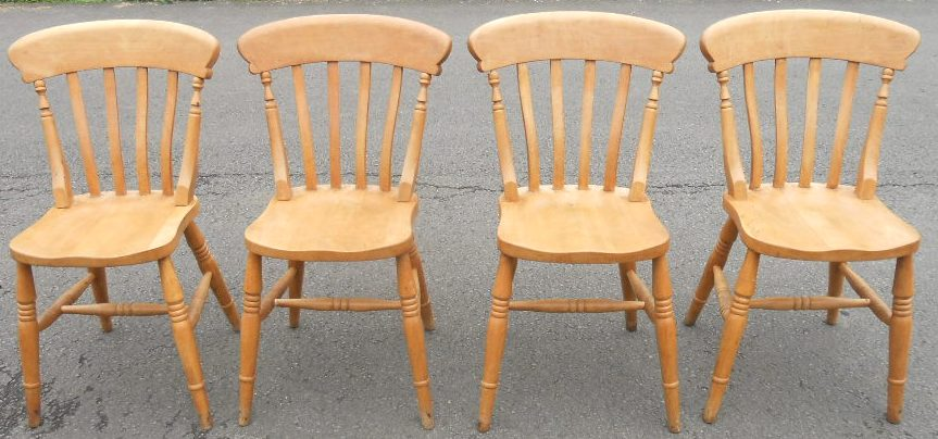 Set of Four Windsor Lathback Pine Kitchen Chairs - SOLD