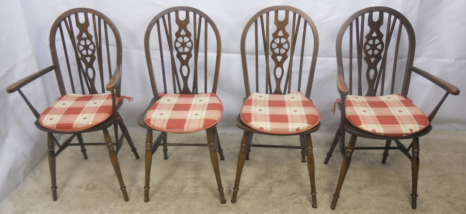& Set of Four Windsor Wheelback Dining Chairs