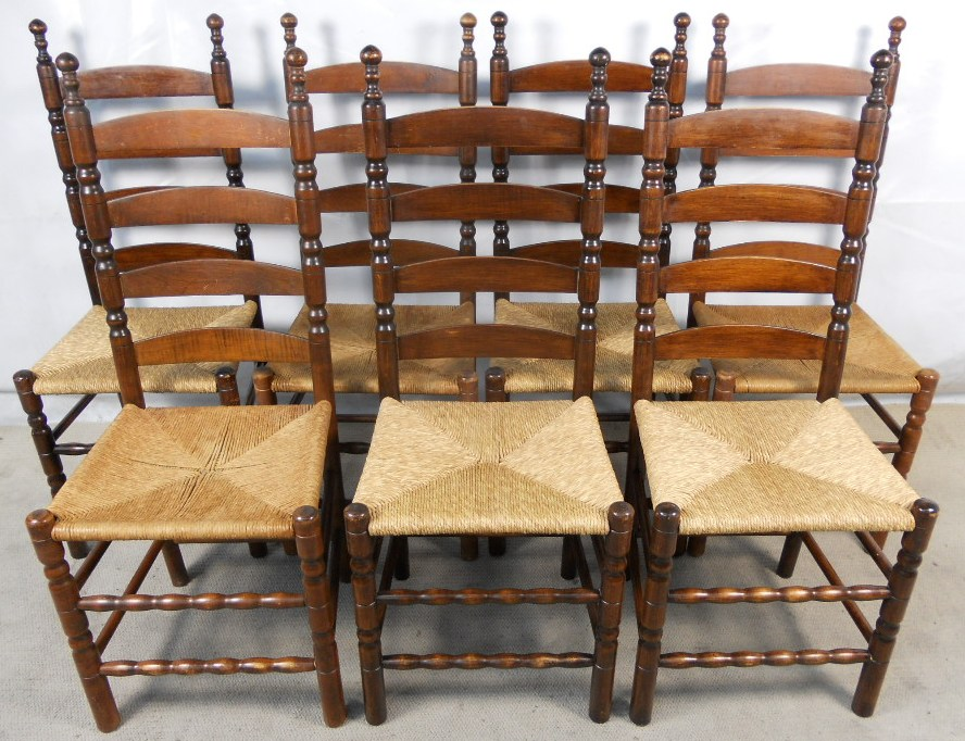 Set of Seven Beech Ladderback Dining Chairs with Rush Seats - SOLD