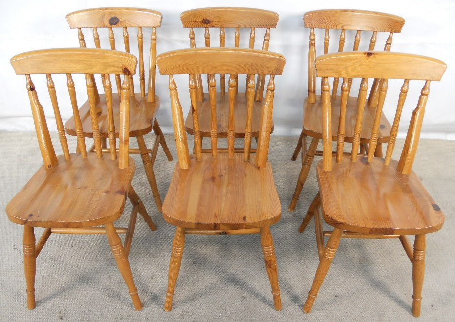 - Set Of Six Antique Windsor Style Pine Kitchen Dining Chairs - SOLD