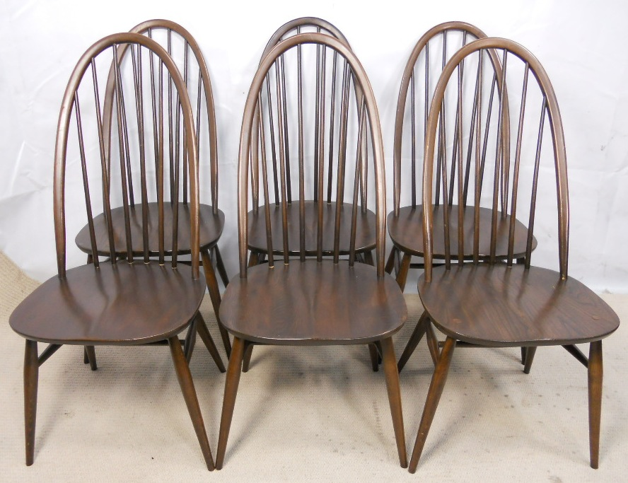 Set Of Six Ercol Highback Spindle Dining Chairs Sold